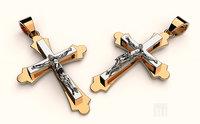 jewelry golden cross jesus 3D model