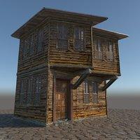 3D model old wooden house