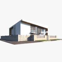 3D modern walls grass model