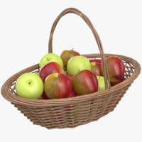 3D real apples basket