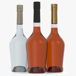 3D alcohol bottle glass liquid model