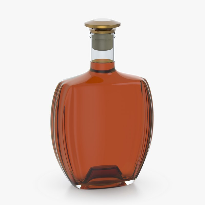 3D model alcohol bottle glass liquid