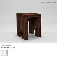 Low Poly Wooden Stool
