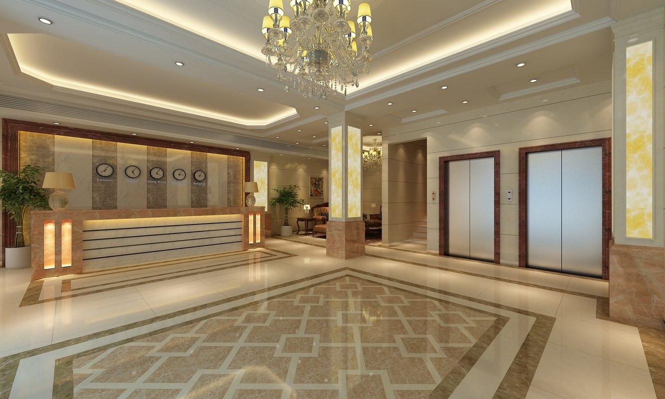3D hotel lobby scene