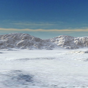 3D snow mountain range landscape model
