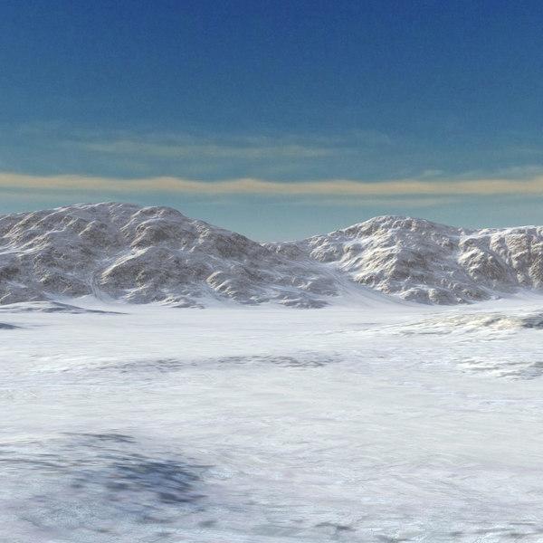3D snow mountain range landscape model