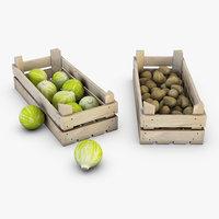 wooden crates vegetables 3D model