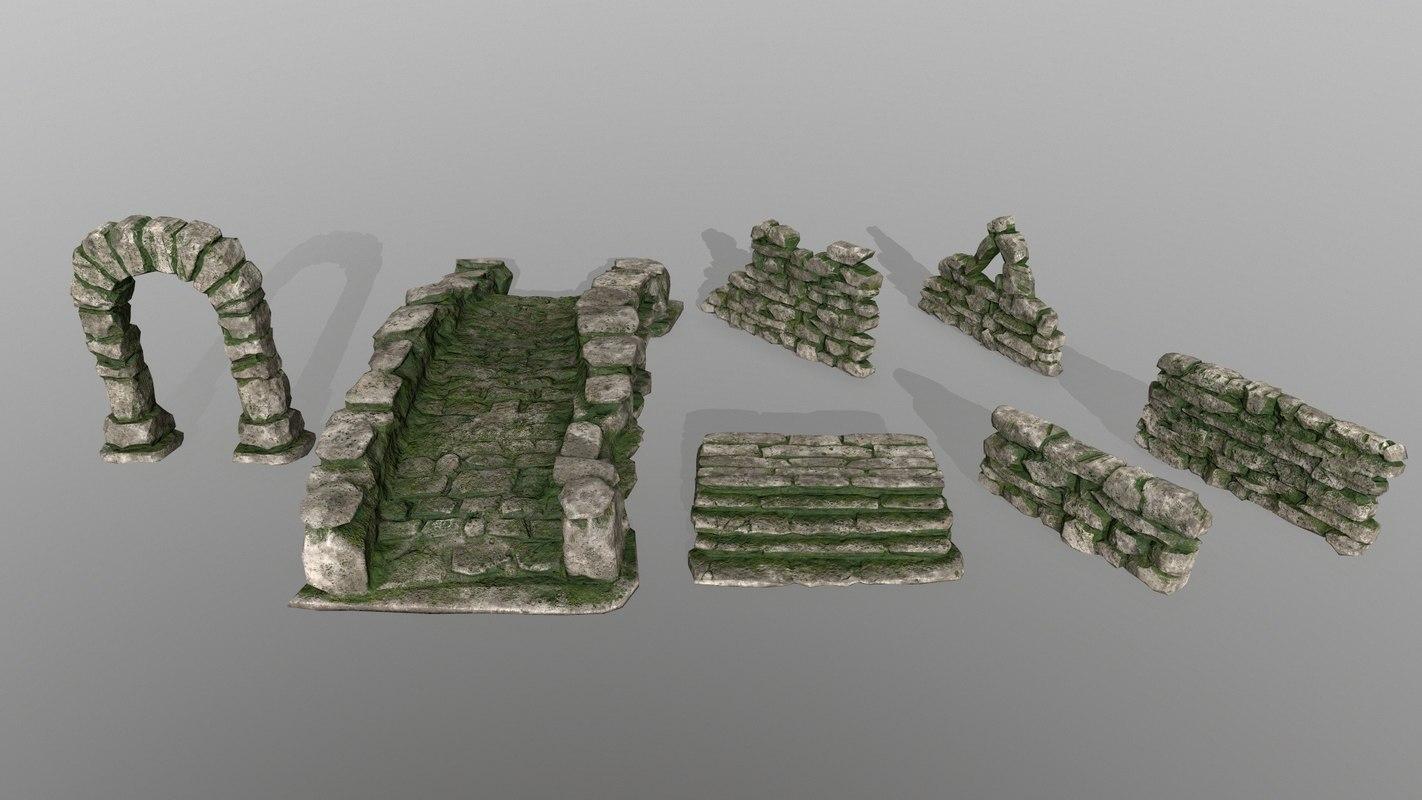 wall door bridge 3D model