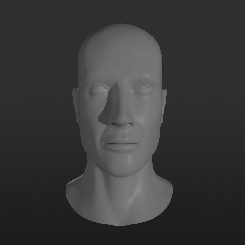 3D male head base mesh