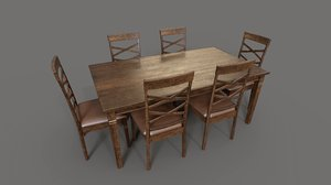 walnut dining table chair 3D model