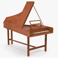 Harpsichord Musical Instrument 3D Model