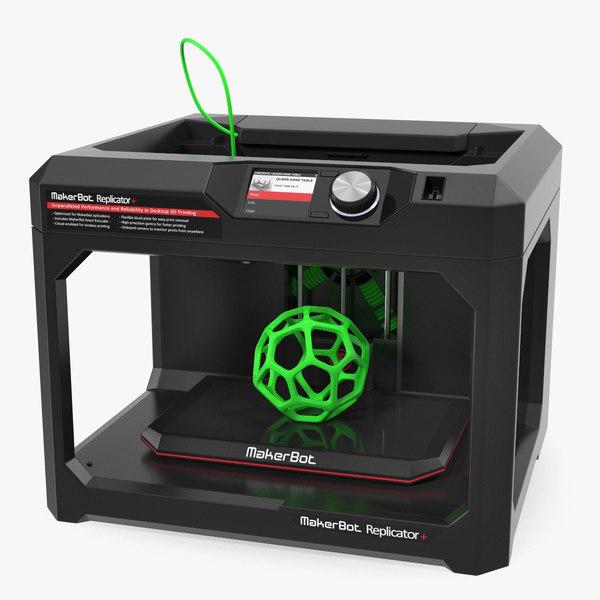 3D makerbot replicator printer rigged