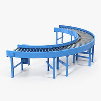 powered bend roller conveyor 3D