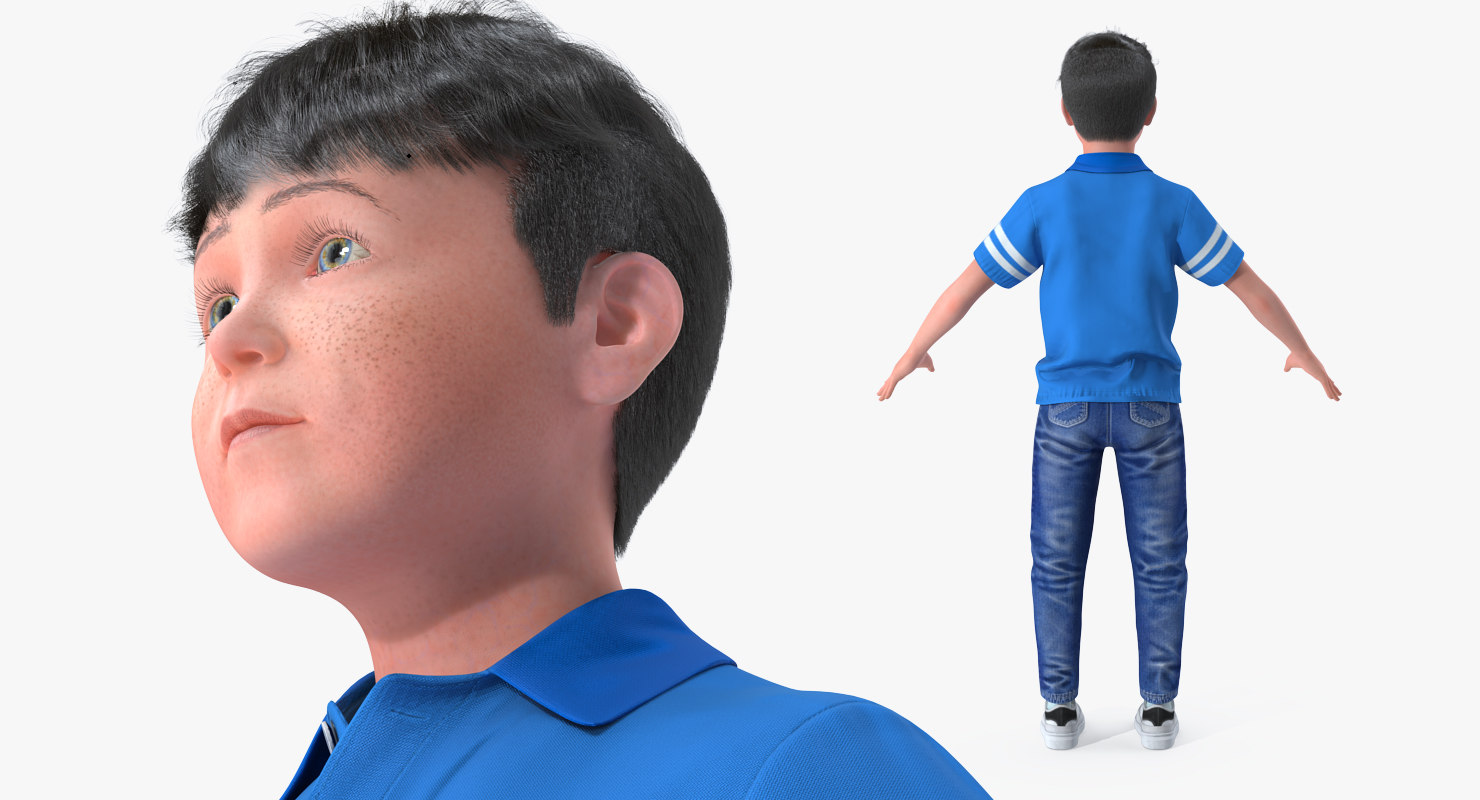 boy character 3d model rigged