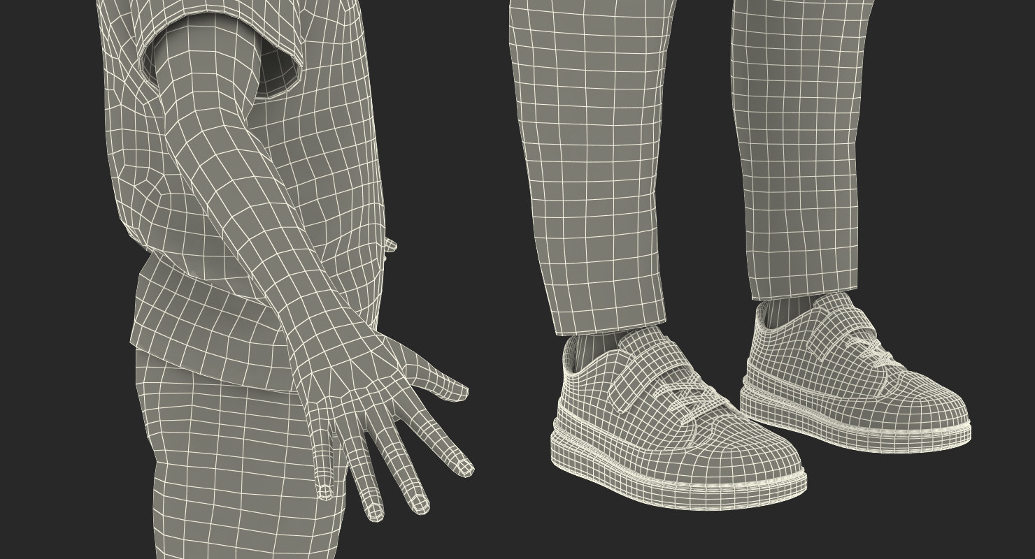 boys clothing 3d model rigged wireframe maya