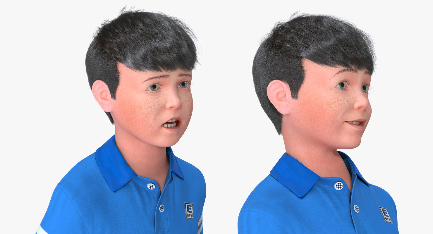 child face expression 3d model rigged