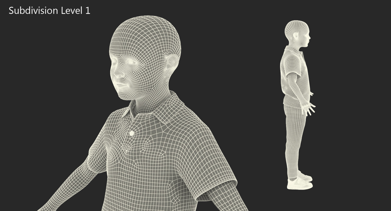 people child male character 3d model rigged wireframe