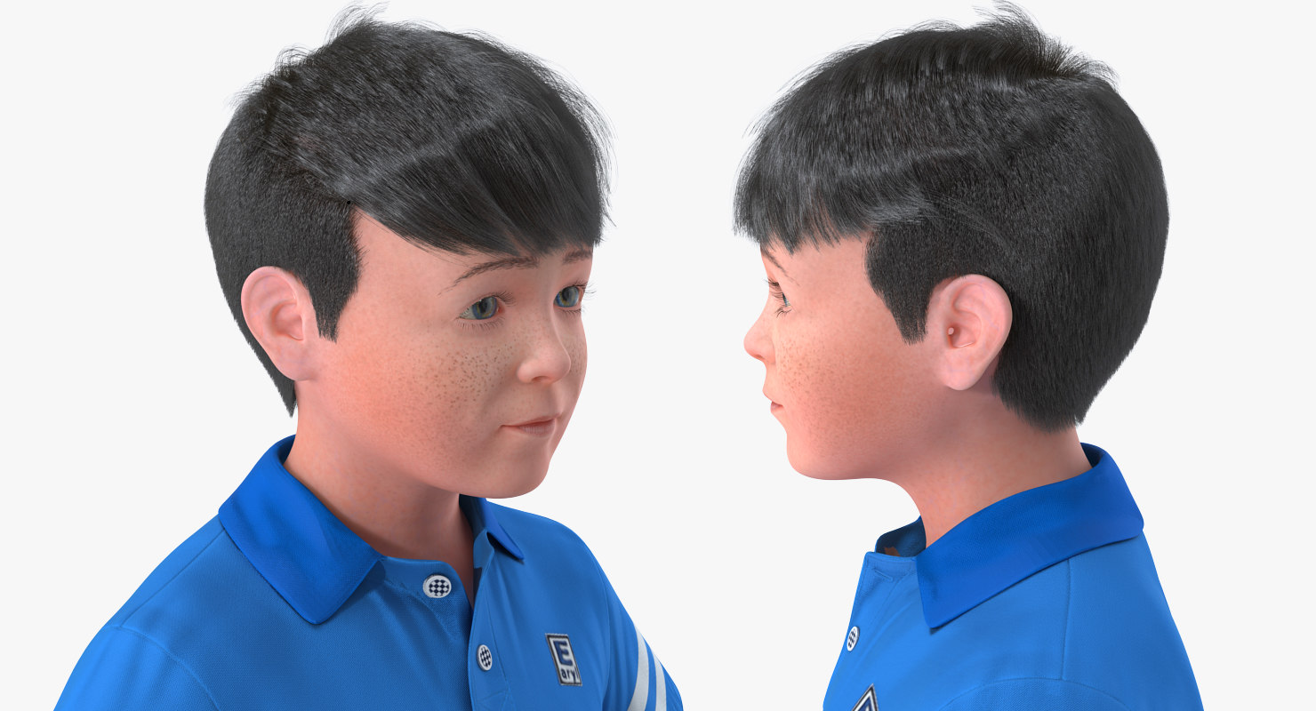 coseup boys face 3d model rigged