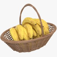 3D real banana basket model