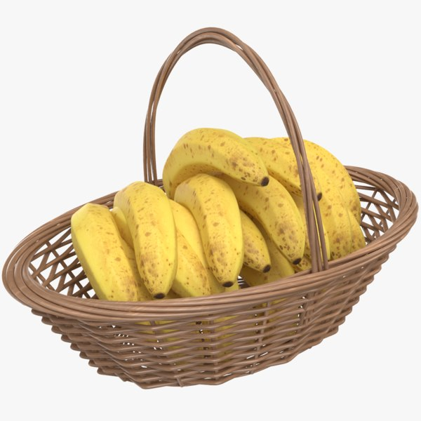3D real banana basket model