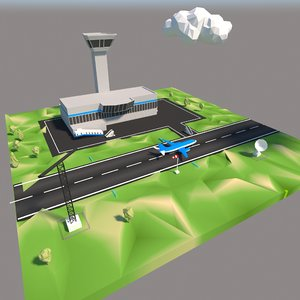 3D cartoon airport