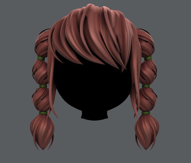 hair style girl v37 3D model