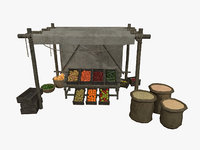 LowPoly Medieval Vegetable and Fruit Stall