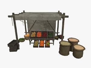 3D assets medieval vegetable fruit