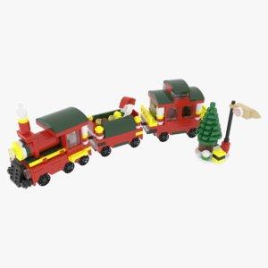 3D lego christmas train