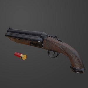 triple barrel shotgun pbr 3D model