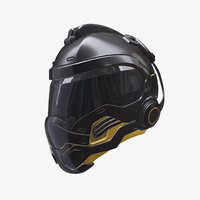 3D model cyborg sci-fi helmet