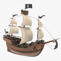 3D cartoon galleon model