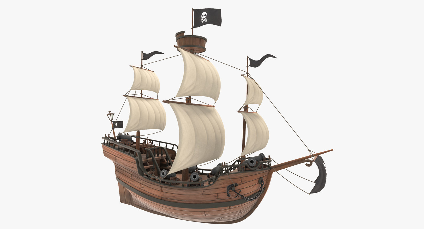 3D cartoon galleon model