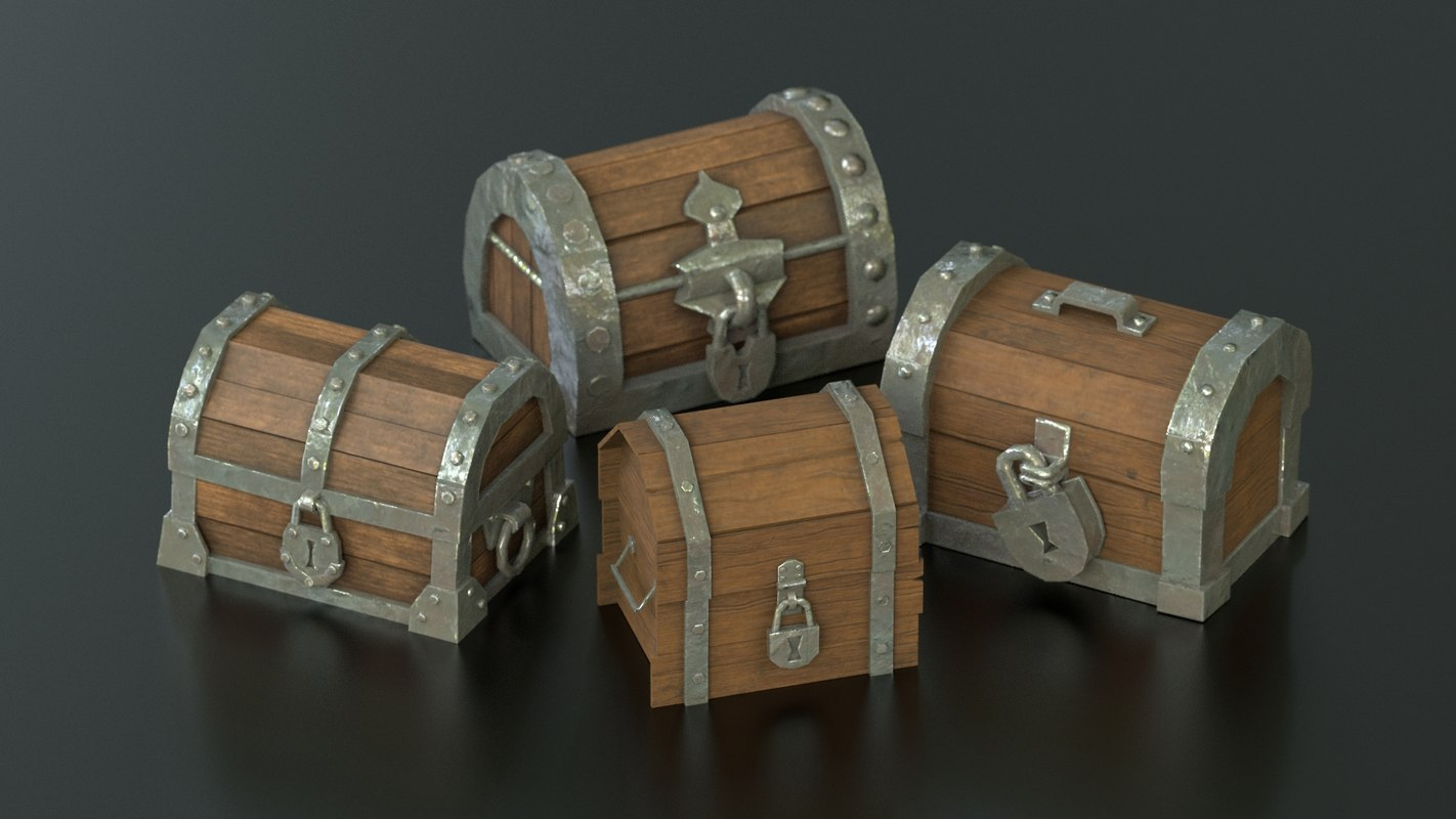 3D model pirate chests