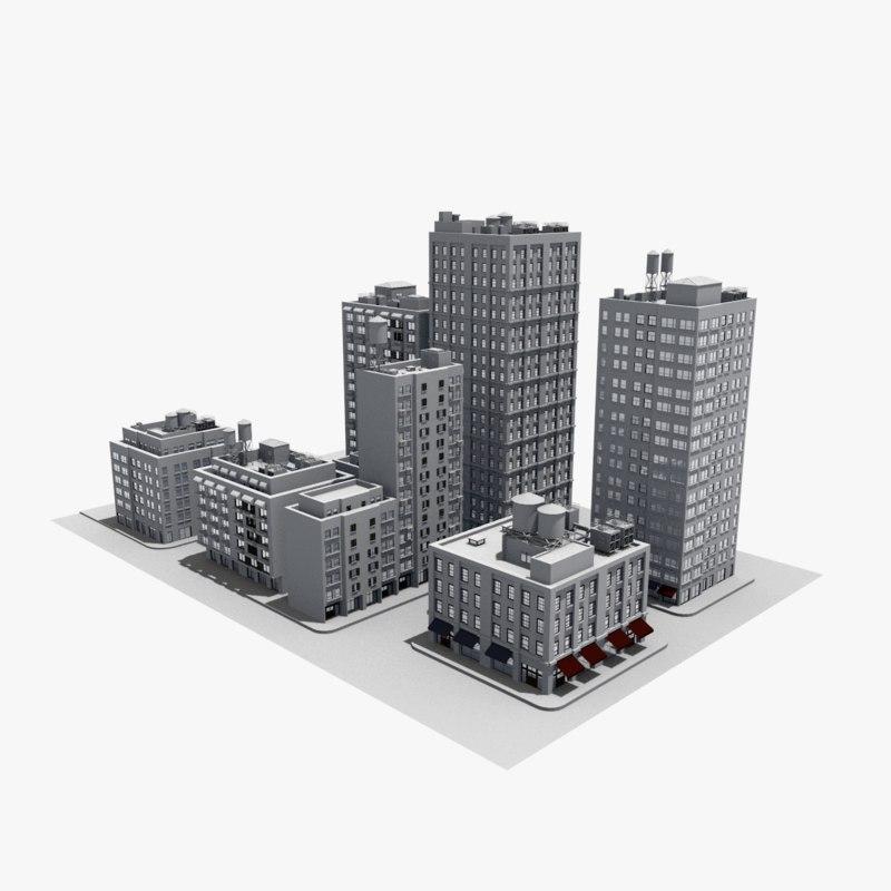 architecture building houses 3D model