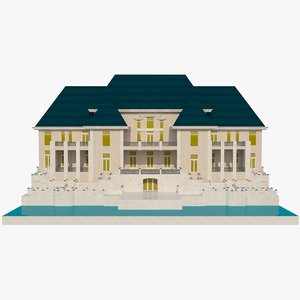 luxurious mansion v1 autocad 3D