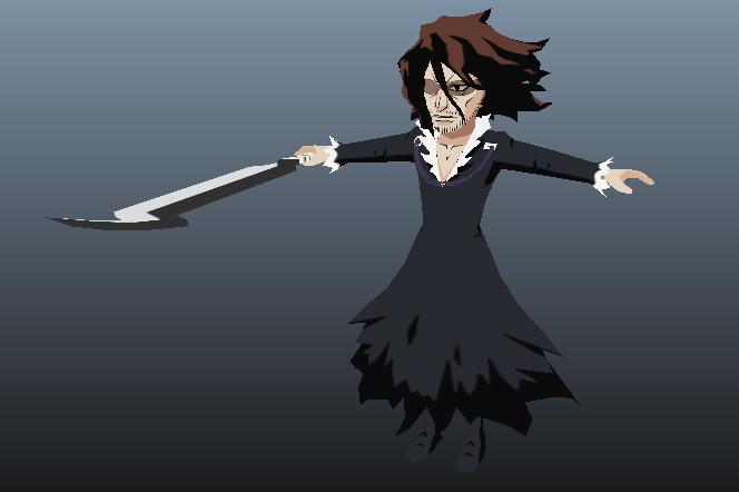 zangetsu bleach anime cartoon character 3D model