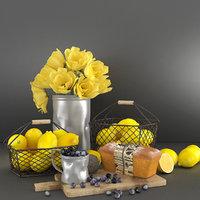 3D model decorative set lemons bouquet