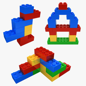 realistic lego bricks shapes 3D
