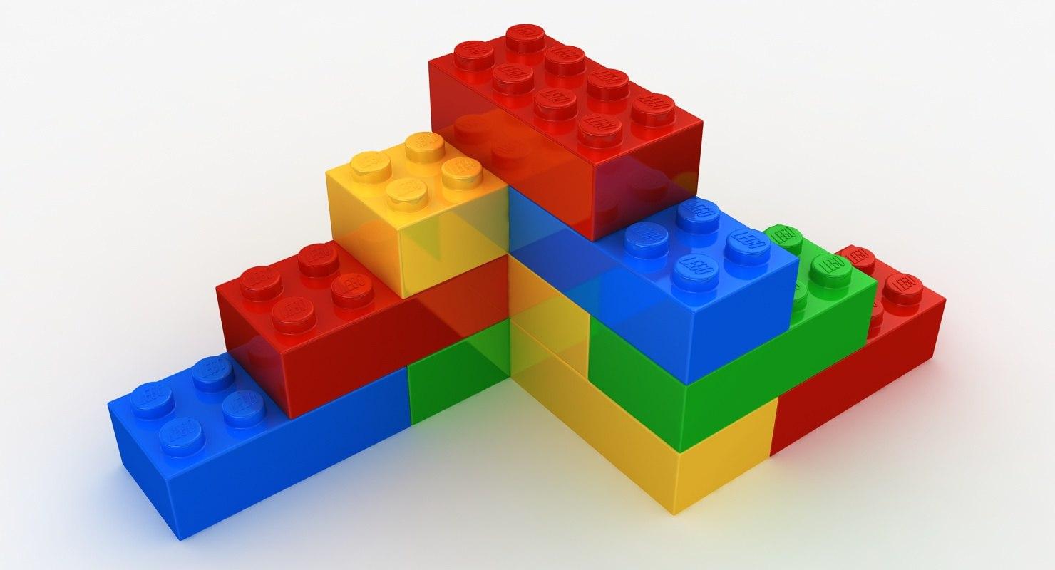 realistic lego bricks shapes 3D