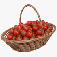 3D real strawberry basket model