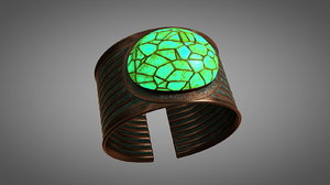 3D bronze copper bracelet model