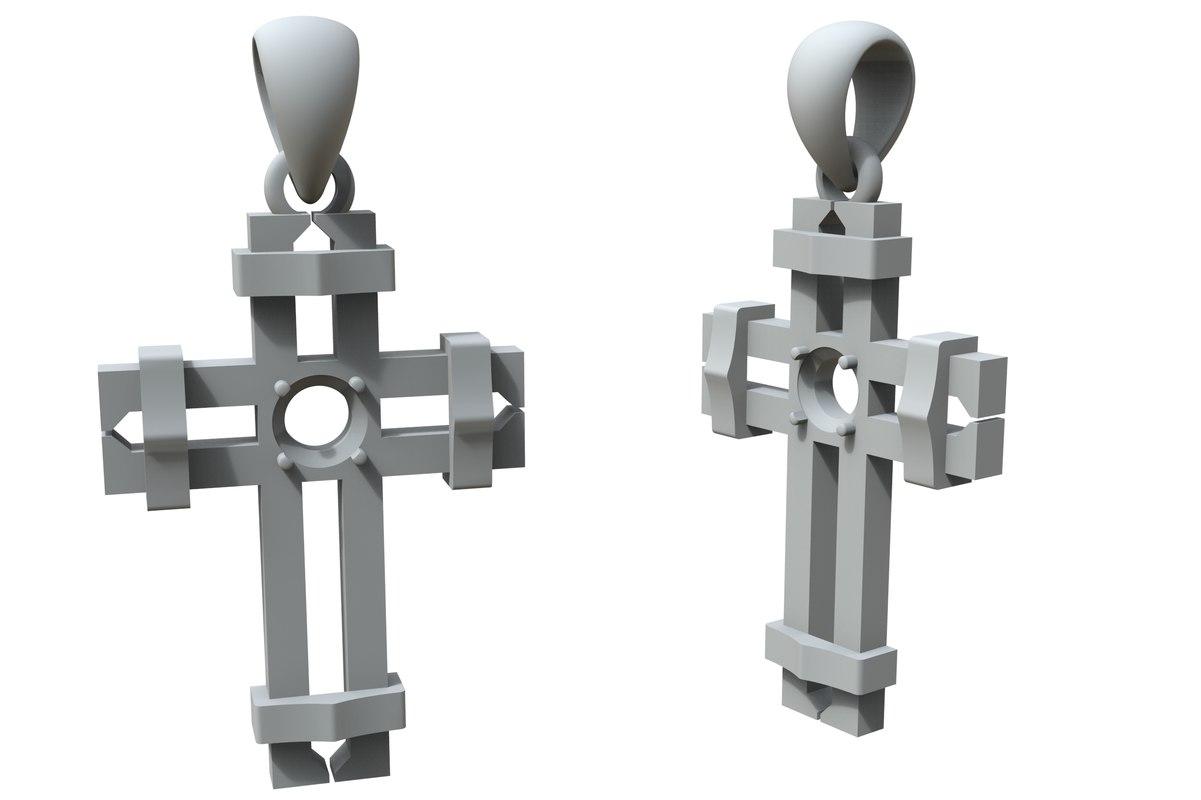 jewelry cross big stone 3D