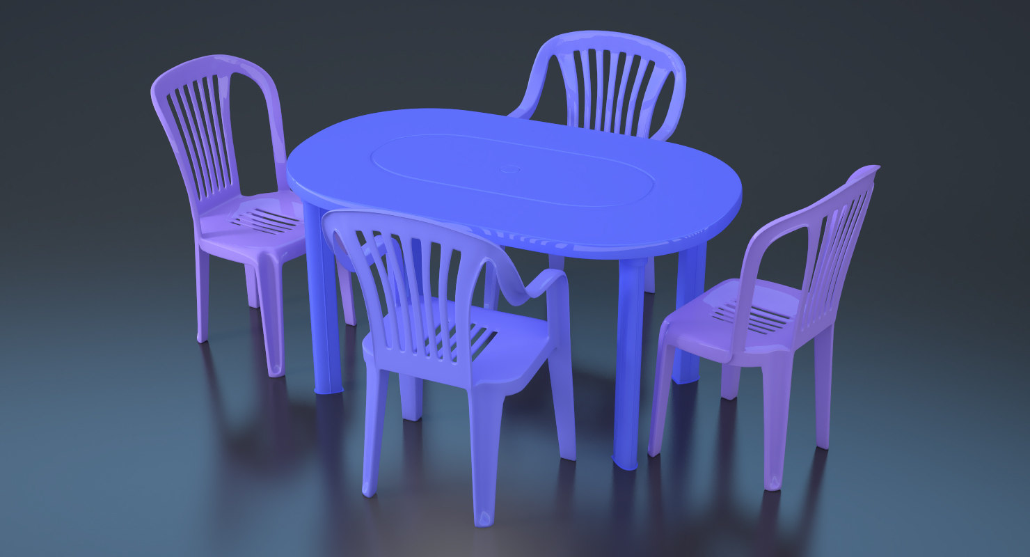 plastic chairs table 3D model