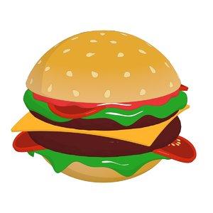 3D model cartoon hamburger