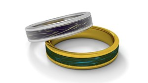 gold silver ring 3D model