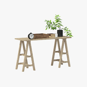rustic table 3D