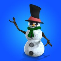 3D snowman snow rigged model