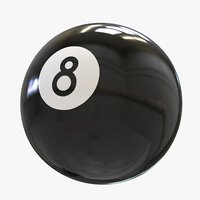 3D model black billard 8-ball