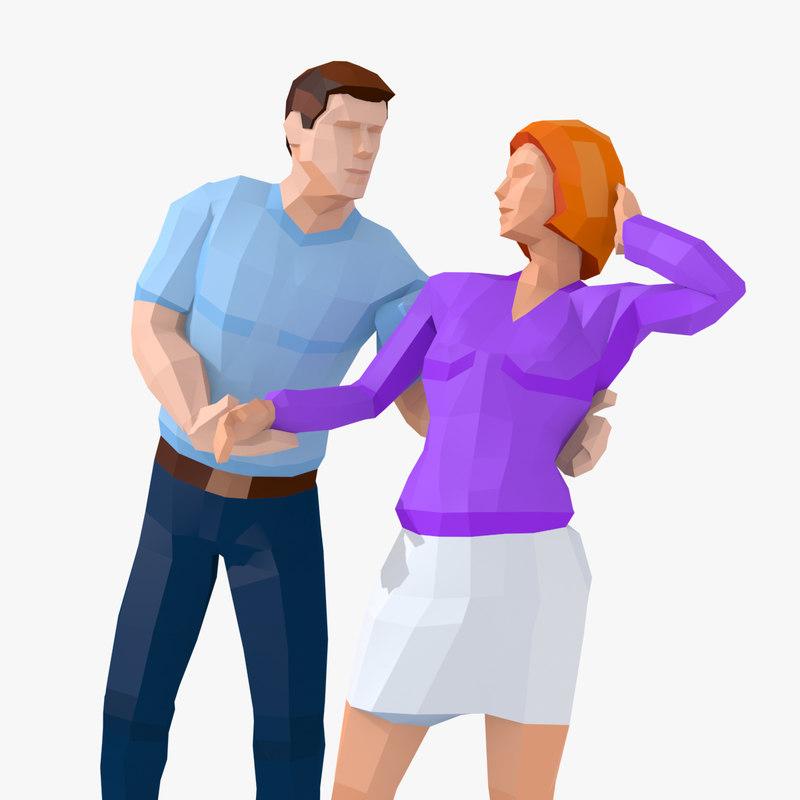 3D man woman casual model